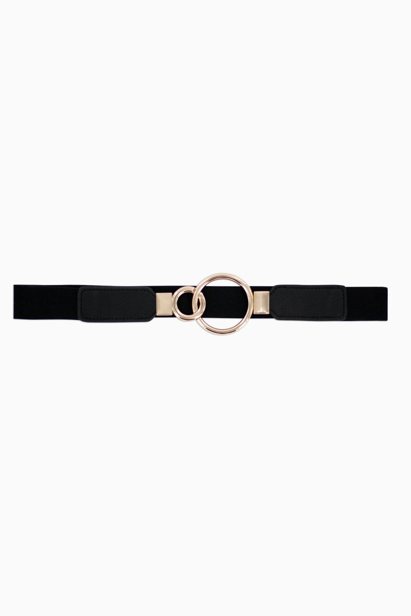 Minueto Elasticated belt with brass rings hook fastening.