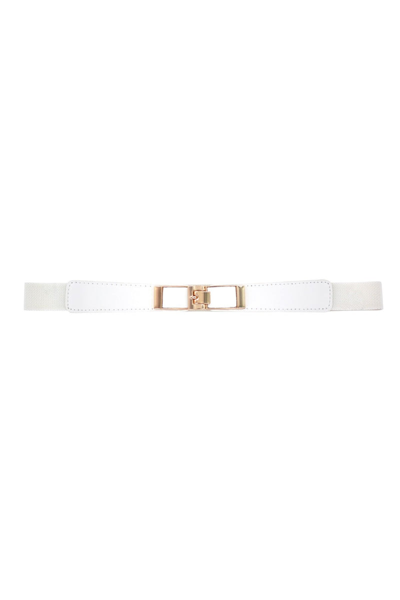 Minueto white Elasticated belt with brass hook fastening.