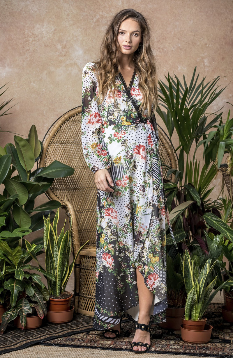 Mixed print wrap dress with long sleeves