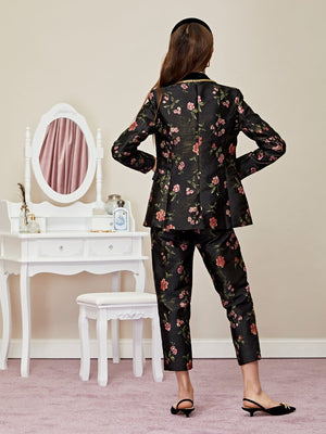 MOON FLOWER jacquard blazer - black
