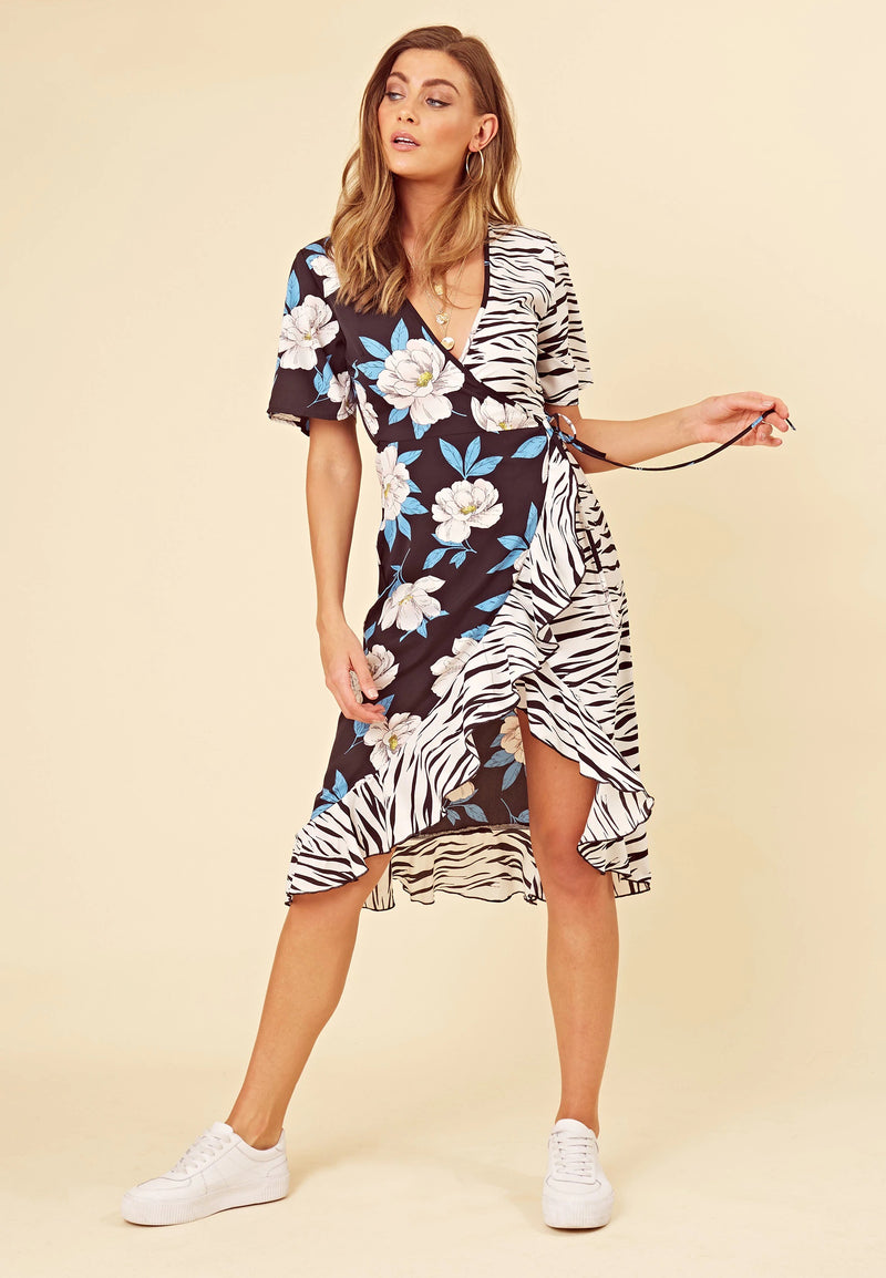 Born to be wild - floral zebra print wrap midi dress - navy