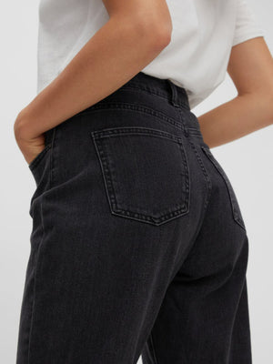 Noisy May Isabel High Waist Ankle Mom Jeans - Black