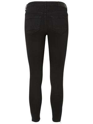 Noisy May Kimmy cropped normal waist skinny fit jeans with ankle zips - black