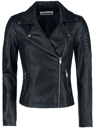 Noisy May Rebel PU faux leather jacket featuring side zip, two side pockets with zip, decorative button on the top part of the collar  and press stud on the bottom part of the collar.