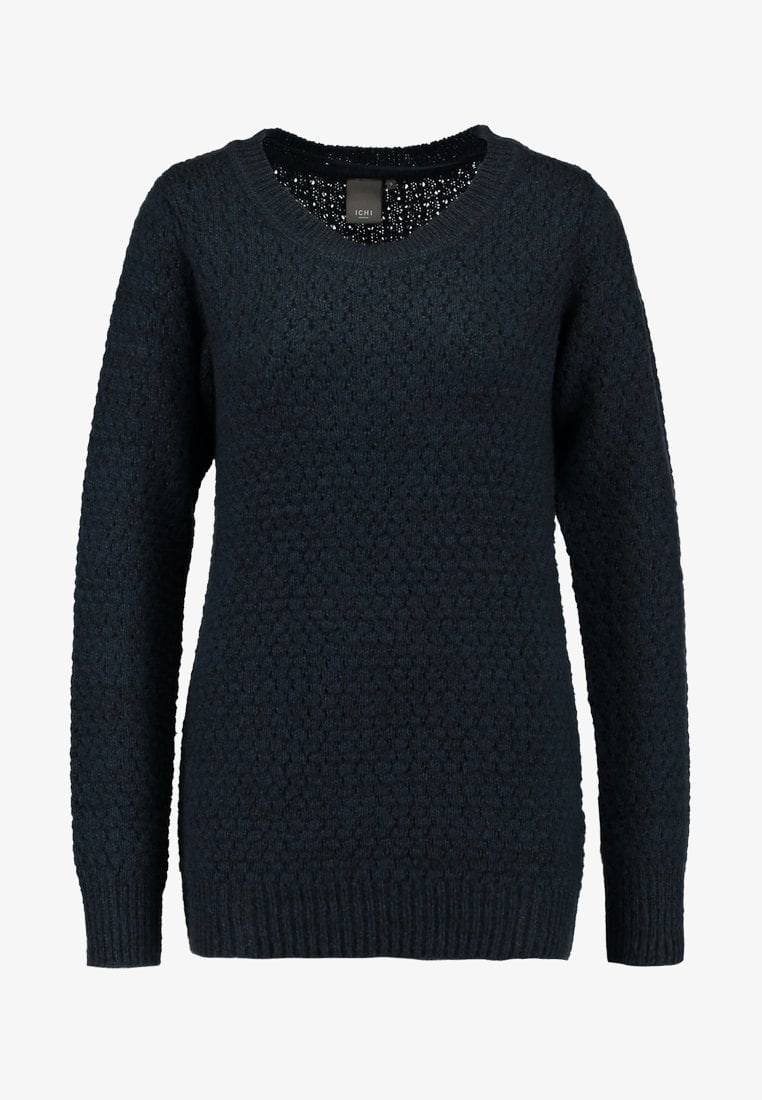 Olanda knitted marl crew neck jumper - total eclipse