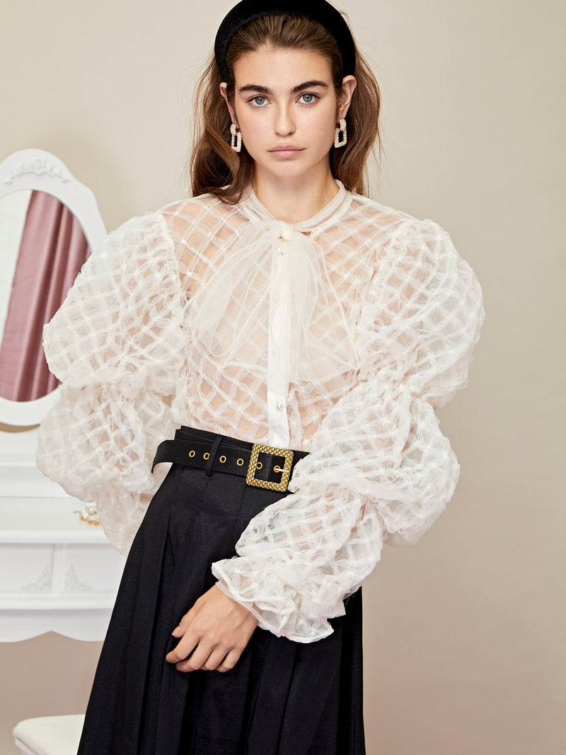 PILLOW PUFF bow blouse - ivory