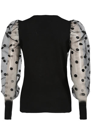 LANNY polka dot mesh sleeve crew neck knitted top - black