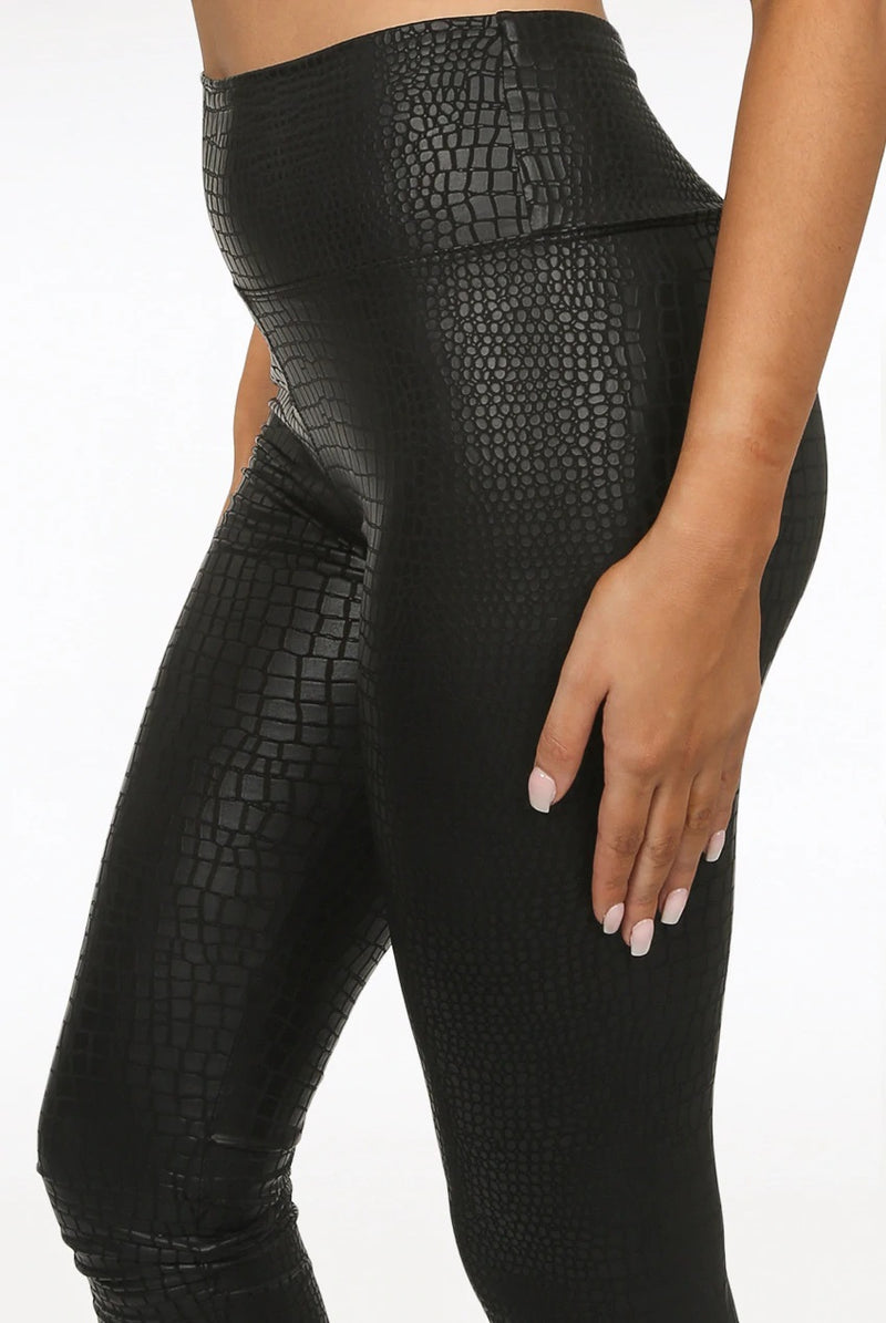 Reptile Bibi - Black Textured High Waist Leggings