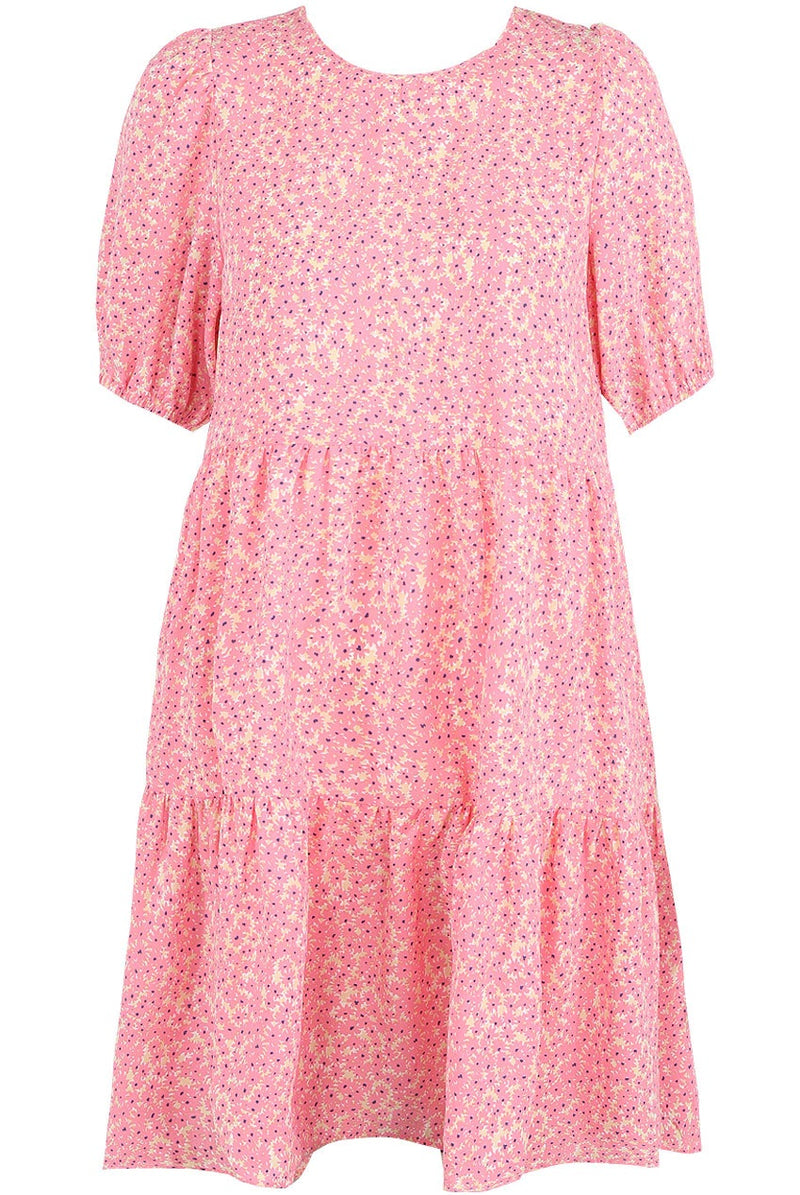 The perfect short smock summer dress for cocktails in the garden.  Back Zip Up Contrast Floral Print with Short Sleeve  and Crew Neck.