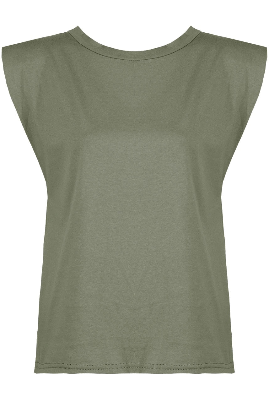Khaki shoulder pad tank top