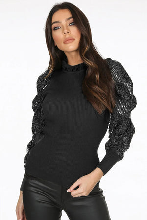 DANI sequin floral mesh sleeve ribbed jumper - black