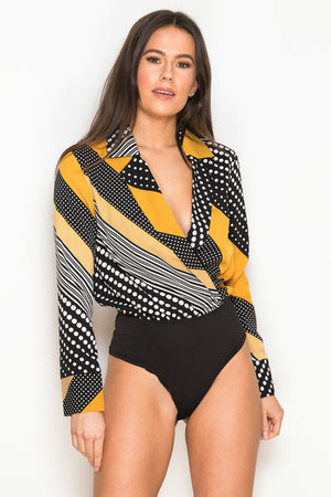AYLA wrap collar bodysuit - yellow/black