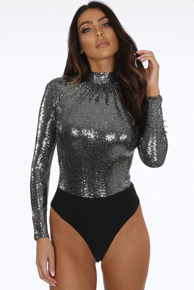 Silver metallic glitter long sleeve high neck bodysuit