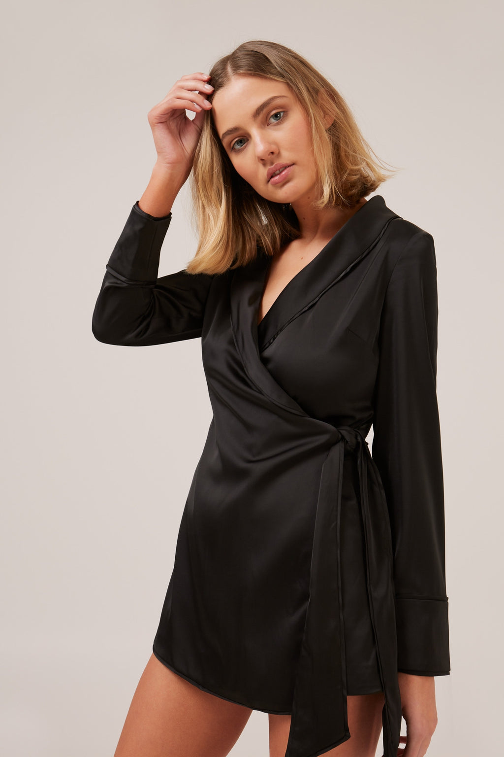SIMPLE THINGS silky wrap style playsuit - black