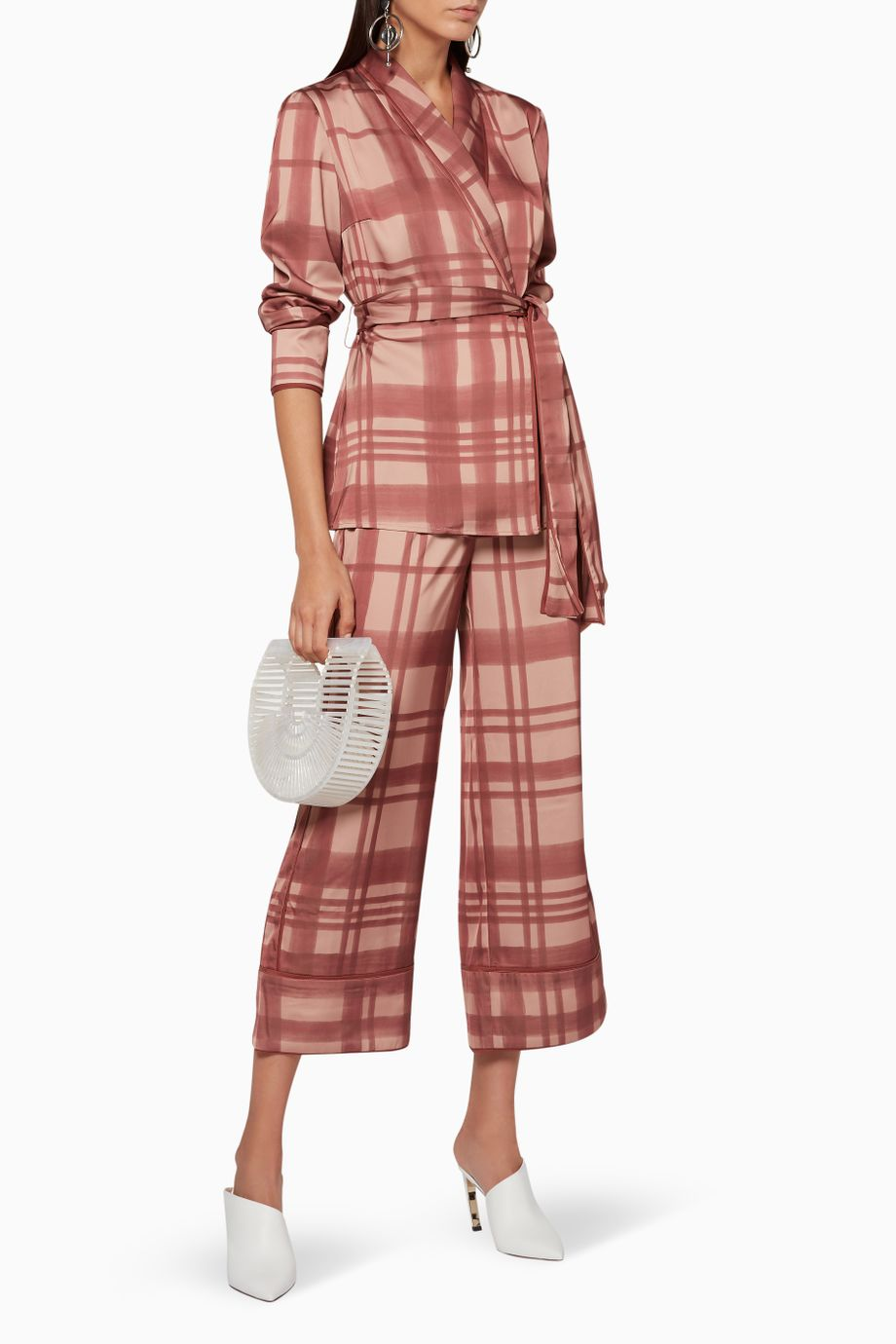 SIMPLE THINGS co-ord check wrap top/jacket - mahogany check