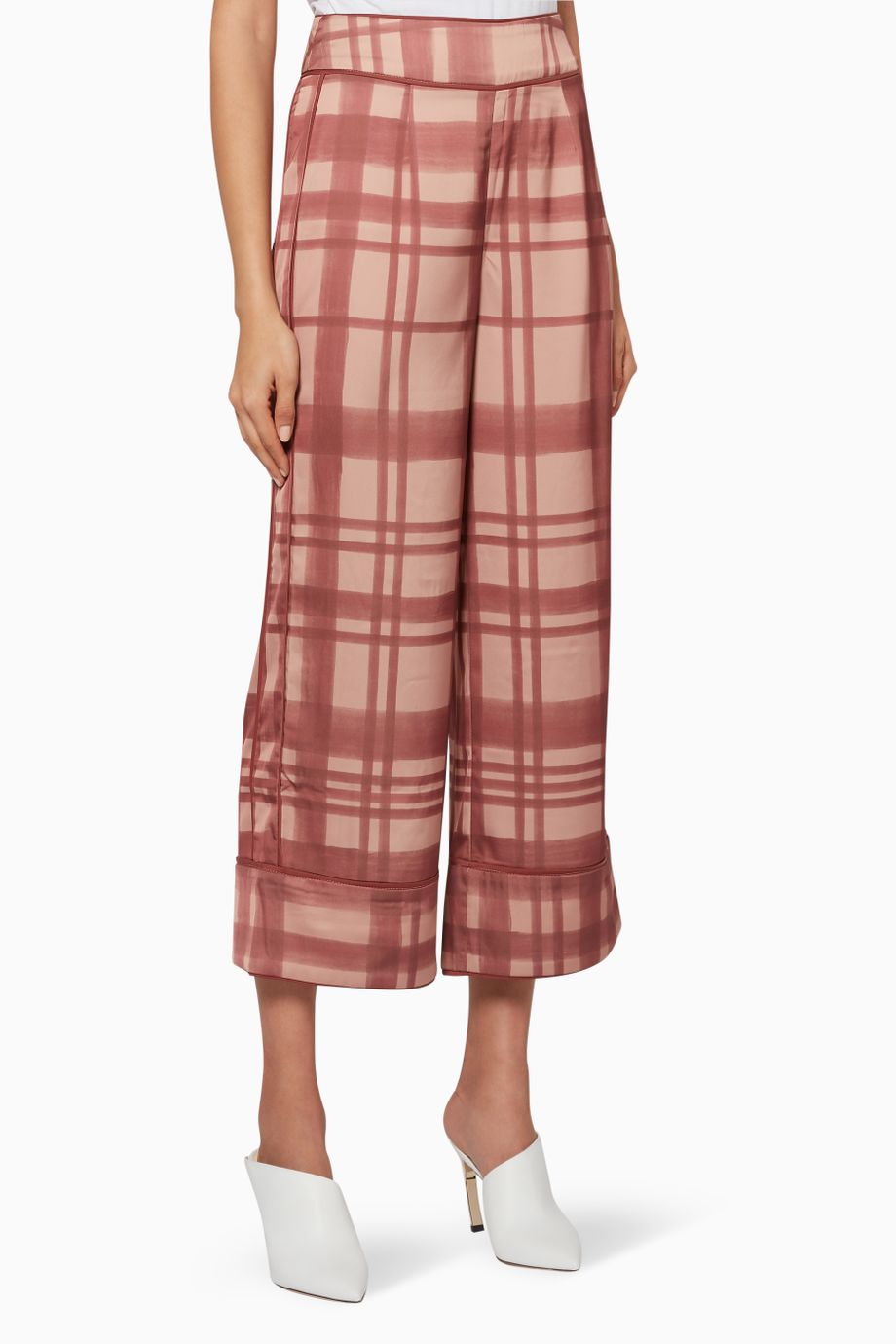 SIMPLE THINGS co-ord wide-leg cropped trousers - mahogany check