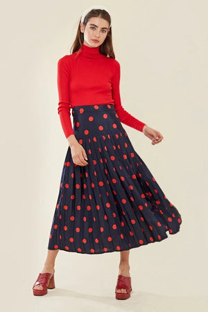 Spot pleated midi skirt with thigh split - navy