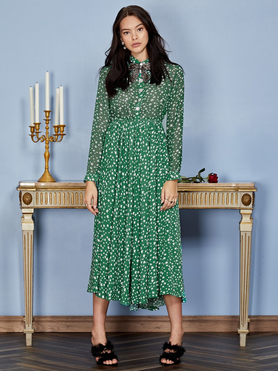 Star charm midi dress - deep green