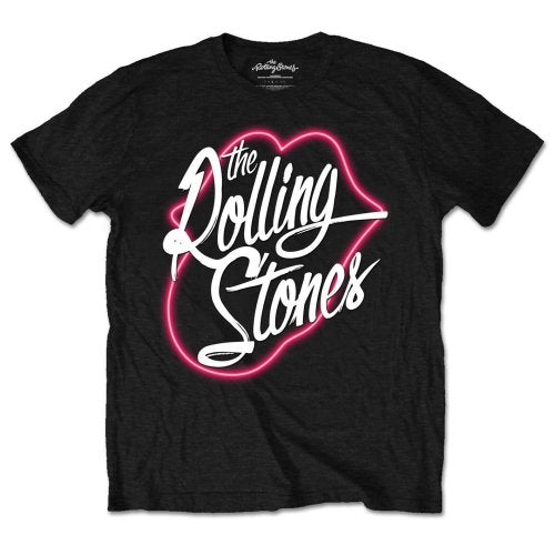 Rolling Stones, neon lips, graphic unisex band tee.