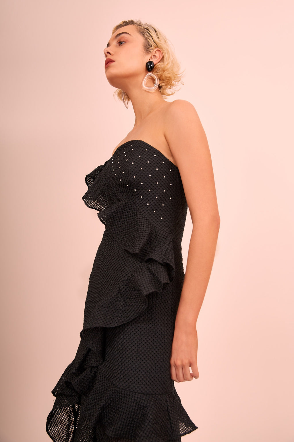 THINK ABOUT ME fit and flare woven gown - black