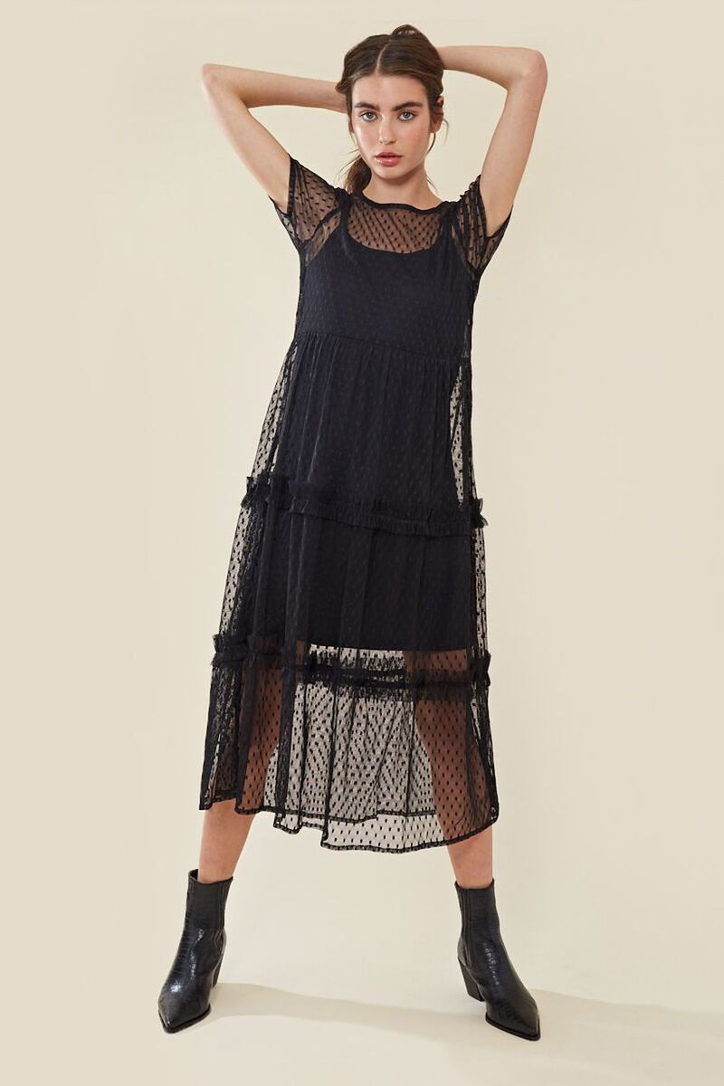 COCO tiered mesh midi ruffle dress - black