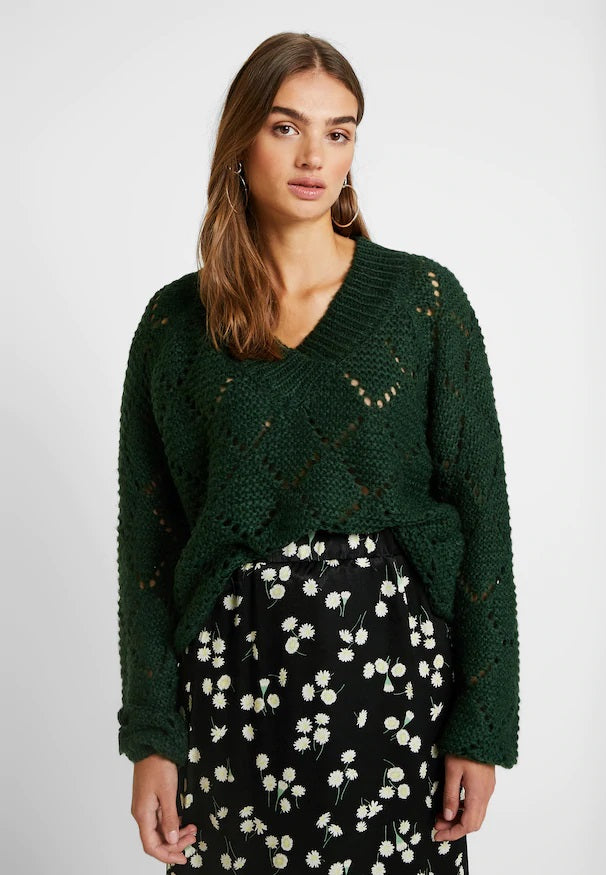 UMARA knitted v neck jumper - green