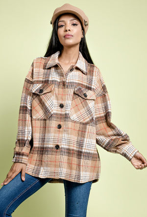 Oversized wool checked shacket in beige with breast poclets.