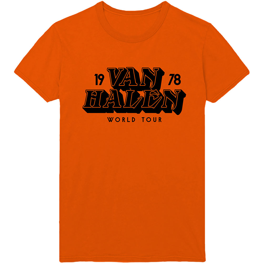Van Halen world tour 78 unisex orange graphic band tee