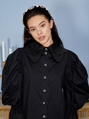 Victoria scallop shirt - black