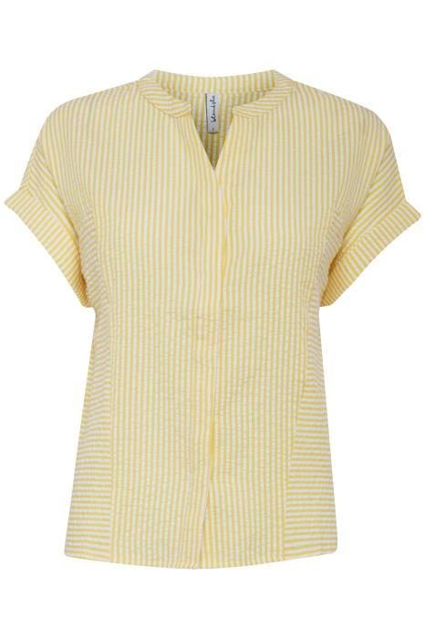 VONA pinstripe lemon and white top
