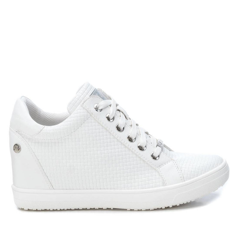 White PU high top sneakers with inner wedge