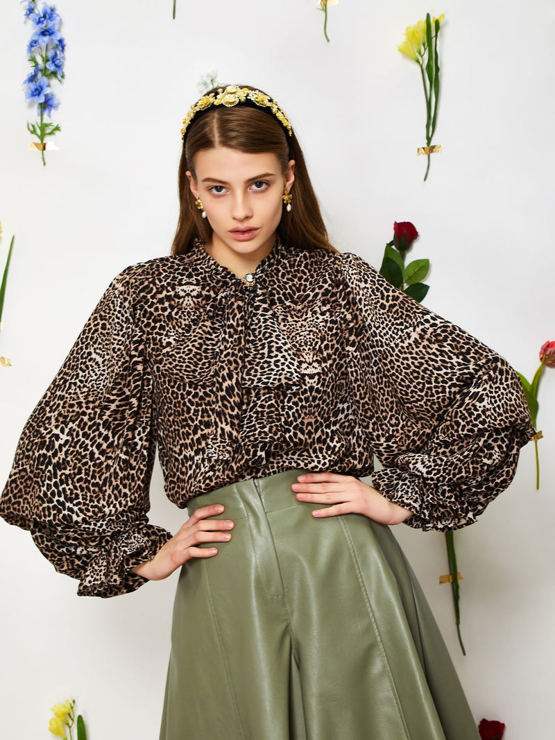 Wild Cameo bow blouse - brown & black