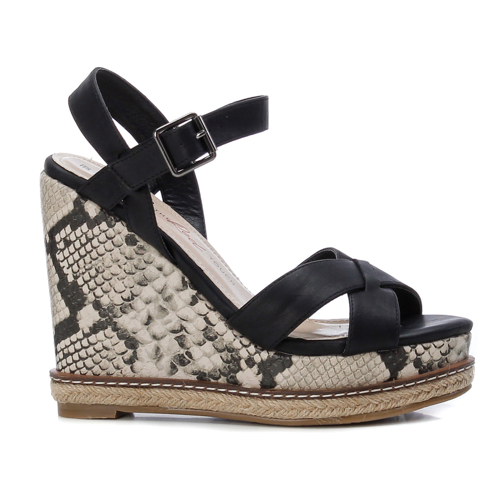 Black PU snakeprint wedge sandals