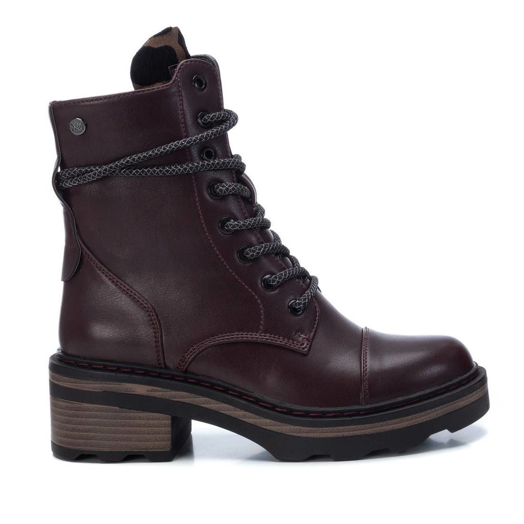 Burgundy ENYO lace up boots with leopard print tongue from XTi