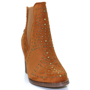 Camel faux suede ankle boots with stud detail