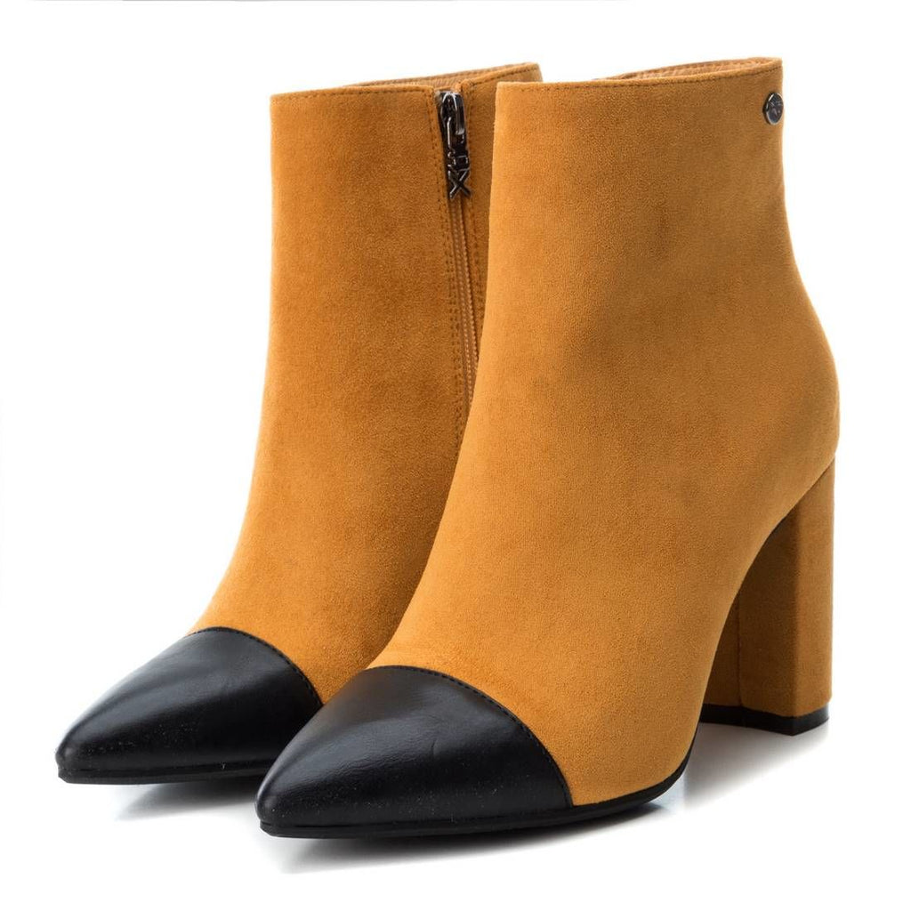 Mustard contrast toe faux suede ankle boots