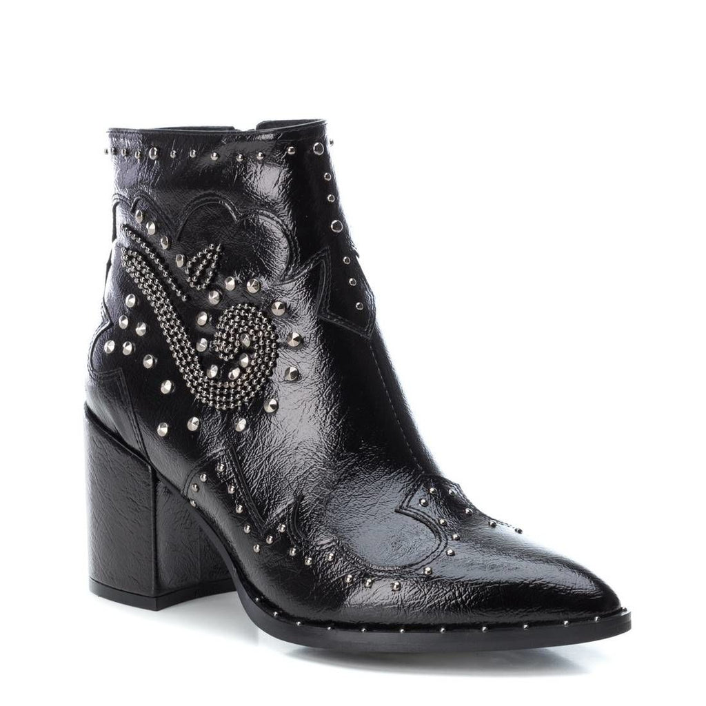 Black PU ankle boots with stud detail
