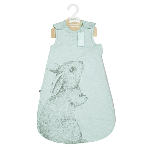 The Little Green Sheep Wild Cotton Organic Sleeping Bag - 2.5 Tog Rabbit - Green Monkeys