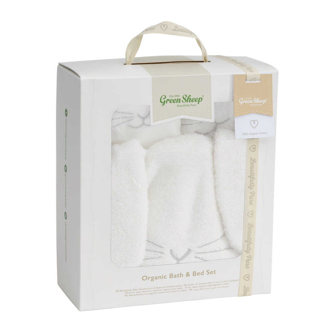 The Little Green Sheep Organic Baby Bath and Bed Set - Bunny 0-3 months - Green Monkeys