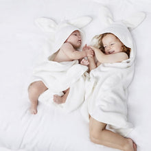 Load image into Gallery viewer, The Little Green Sheep Organic Baby Hooded Towel - Bunny - Green Monkeys