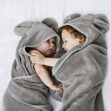 Load image into Gallery viewer, The Little Green Sheep Organic Hooded Baby Towel - Bear - Green Monkeys