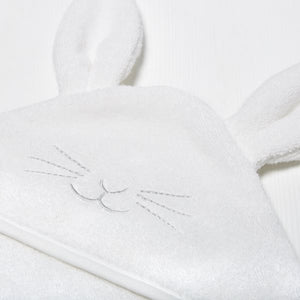 The Little Green Sheep Organic Baby Hooded Towel - Bunny - Green Monkeys