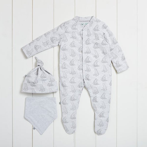 The Little Green Sheep Wild Cotton Organic Baby Gift Set - Bear - Green Monkeys