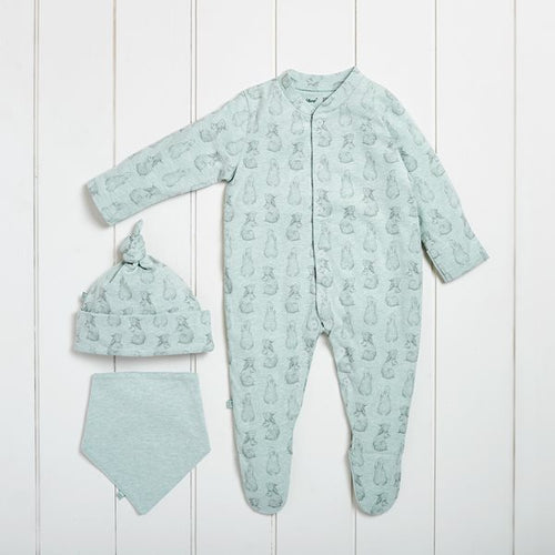 The Little Green Sheep Wild Cotton Organic Baby Gift Set - Rabbit - Green Monkeys