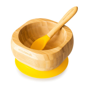 Eco Rascals Bamboo Toddler Bowl and Spoon Set - Yellow