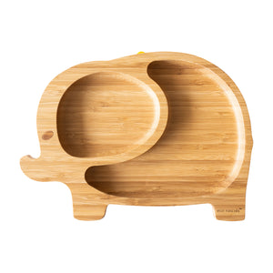Eco Rascals Bamboo Toddler Plate - Green Elephant Design
