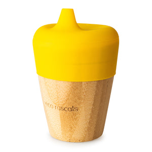 Eco Rascals Bamboo Cup (190ml) with silicone sippy cup topper  - Yellow