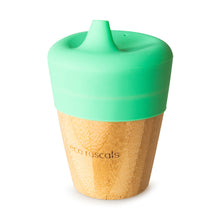 Load image into Gallery viewer, Eco Rascals Bamboo Cup (190ml) with silicone sippy cup topper  - Green