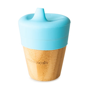 Eco Rascals Bamboo Cup (190ml) with silicone sippy cup topper  - Blue