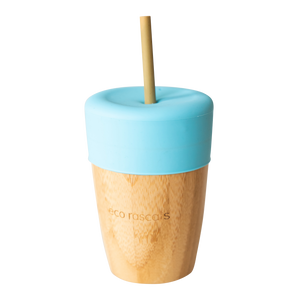 Eco Rascals Bamboo Cup (210ml) with silicone topper and 2 bamboo straws - Blue